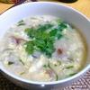 【今日の食卓】カーオトム、卵と野菜の雑炊パクチー入り