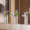 ルリマツリのブルーが涼しげ♪ IKEAのシリンダー型の花器3つを並べて玄関に♪