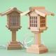 神棚に木製灯篭を置く プラスティックより良いと思う でも安くない