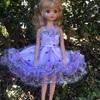 薄紫のドットのドレス