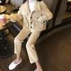 韓国ファッション レディース セットアップ ウールジャケット + ウールパンツ ウール レトロ