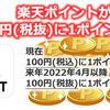 楽天ポイントが100円(税込)に1ポイントから、100円(税抜)へ 2022年4月から