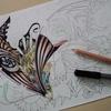 『虹色鉛筆』の色塗り練習中です・パズドラ塗り絵より