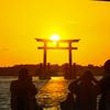 浜ちゃん日記      感動的な弁天島赤い鳥居の夕日を眺める