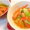 レタスサラダとあらびきウインナーのコンソメスープ