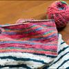 Opal毛糸の腹巻帽子
