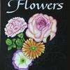 花のチョークアートを作成中