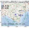 2017年10月14日 19時53分 十勝地方中部でM3.4の地震