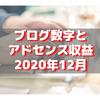 【2020年12月】ブログの各種数値とアドセンス収益公開