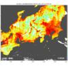 今年の猛暑を衛星「しきさい」で観測。植物さん多い所、温度下がってました。♫♫♫