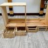 子どもの学習机。本棚の設計図、木材カットの方法。