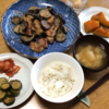 なすと鶏ムネ肉のマヨしょうゆ炒め・かぼちゃ煮