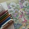 完成】100均セリアの水彩えのぐ和の色&メタリック色鉛筆で塗ってみました☆森の少女の物語より