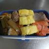 幸運な病のレシピ( 441 )朝:ガンモドキとタケノコと蕗のテリテリ、弁当セット(卵焼、ウインナ、鮭)、肥満についてのお話
