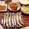 ししゃも、鶏肉の甘酢煮、納豆、かぶの漬物。