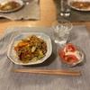 焼きそば(粉)、なもなき野菜サラダ
