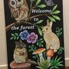 森の動物たちのチョークアートが完成しました