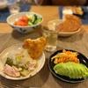 フォカッチャ、鶏肉と大根のスープ、昨日の人参とツナのサラダ、アボカド。とまとときゅうり