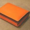 【試作】二つ折り財布(ボックスコインタイプ) オレンジ × ワイン × チョコ