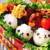 【キャラ弁】パンダさんおにぎりのチキンナゲット弁当