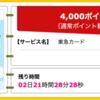 【ハピタス】東急カードが期間限定4,000pt(4,000円)! 初年度会費無料! ショッピング条件なし!