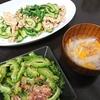 豚こまきゅうり中華炒め、ゴーヤめんつゆ漬、スープ