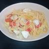 ホットクック リピ決定レシピ スープパスタコース調味料塩だけで、トマトとキャベツのスープパスタ(1人分)