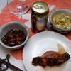 夕食:鶏ハツ甘辛煮、地物ヒラメの煮つけ