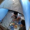 ベランダでキャンプ遊び