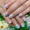 ブルー&スノーの世界観♡Frozenな雪の結晶ネイル☆ジェル