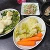 砂肝のコンフィ、バーニャカウダ風、水菜炒め、味噌汁