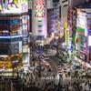 渋谷ヒカリエ「スカイロビー」から夜の渋谷の街を撮る