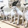 羊と山羊6頭の素焼き、釉掛け