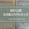 【家計公開】生活費まとめ(H29年3/25~4/24&4/25~5/24)
