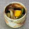 南瓜とささげ、ブナシメジ、キャベツの洋風煮浸し