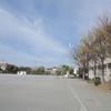 入学式と日の丸。「小学校の校庭で」