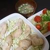 鶏むね焼き鳥風、ブロッコリーごま和え、味噌汁