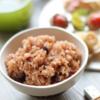お気に入りのお弁当。寝かせ玄米=酵素玄米の美容効果に期待。
