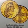 イギリス1701年ウイリアム3世5ギニー MGC MS64