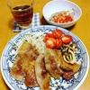 豚の生姜焼きで晩ごはん