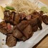 金沢市西念、金沢中央卸売市場近くにある金沢牛たん食堂10&10で肉三種(牛タン、イチボ、サーロイン)定食