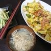 回鍋肉風、白菜漬け、味噌汁