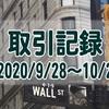 2020/9/28週の米国株オプション取引(確定利益$748、含み損$-4,972)