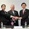 日米韓、北朝鮮問題を議論 トランプ政権で初の外相会談