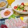 真鯛の刺身、ホタテとアスパラのガーリックオイル蒸しなどで晩酌