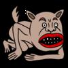 伏せをしようとする犬のようなモンスター のイラスト