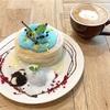 チョコミントのふわふわパンケーキ&くまさんラテアート(Pluffy Cafe @下北沢)