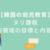 【韓国の幼児教育】ヌリ課程の5領域の目標と内容