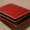 【試作】二つ折り財布(ボックスコインタイプ) ワイン × オリーブ × チョコ × オレンジ
