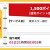 【ハピタス】東京スター銀行 口座開設が期間限定1,500pt(1,500円)!